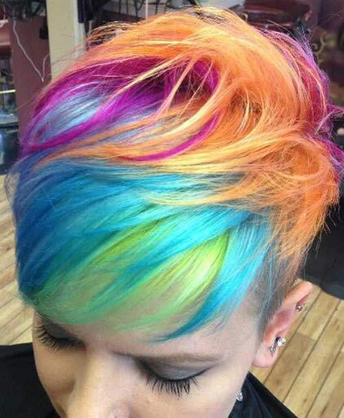 Colored Funky Hairstyles for Short Hair
