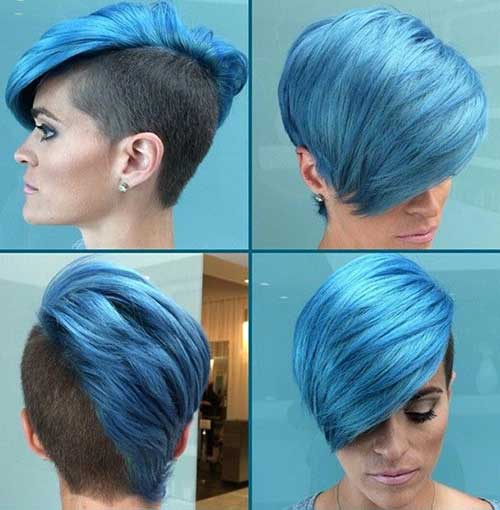Funky Short Blue Hairstyles with Side Shaves