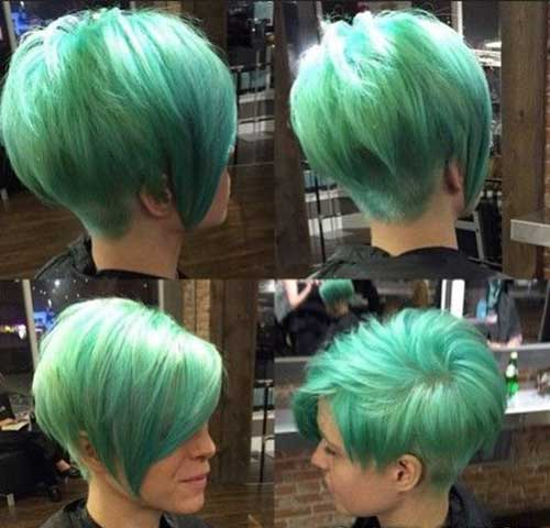 Short Green Hairstyles for Girls 2014