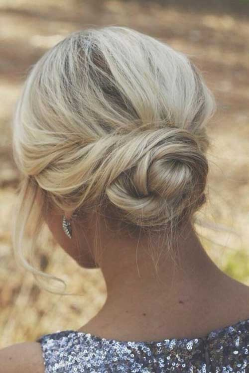 Loose Low Bun Hairstyle Updos For Short