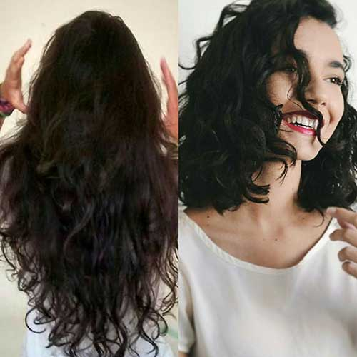 Long bob in curly hair