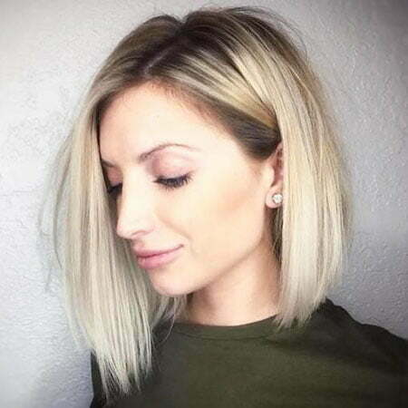 Straight , Blonde Balayage Bob