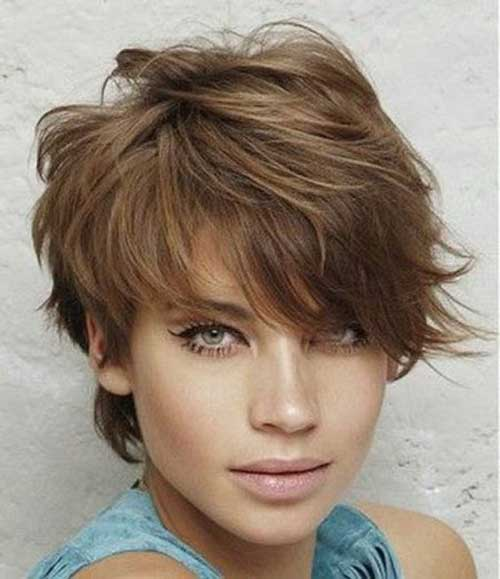 Layered Short Haircut for Round Faces