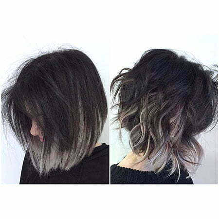 Short Hair with Color, Short Purple Bob Balayage