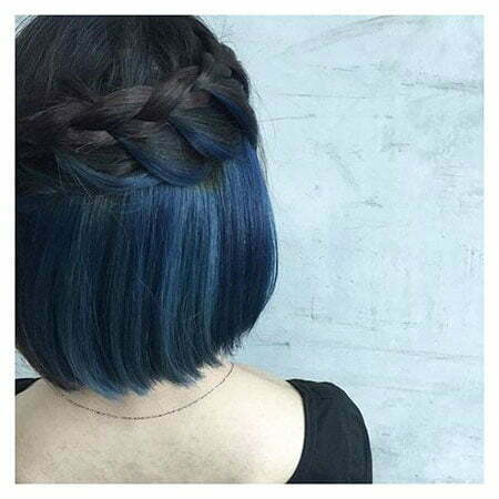 Hair Blue Color Bob