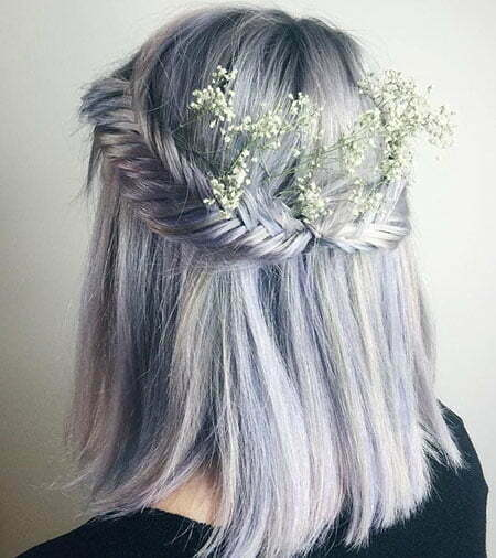 Lavender Hair Color, Hair Half Short 40
