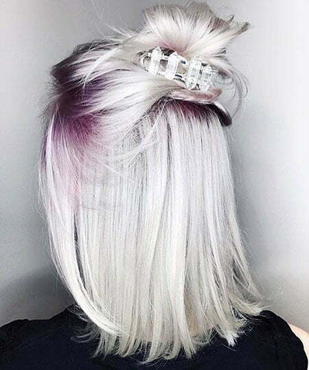 Purple Roots Silver Hair, Hair Platinum Blonde Purple