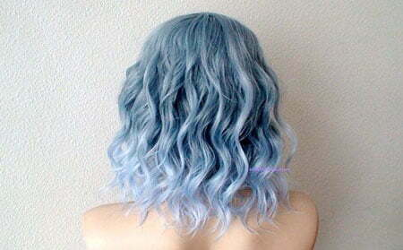 Light Blue Hair, Hair Short Blue Wavy
