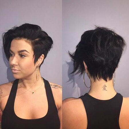 Cute Short Haircut for Thick Hair, Pixie Long Side Hair