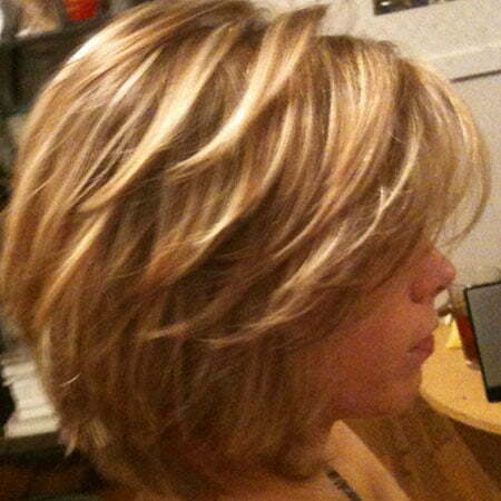 Short Layered Haircut Brown Hair, Hair Layered Highlights Blonde