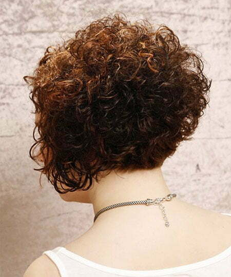 Curly Short Inverted Bob, Curly Bob Short Brunette