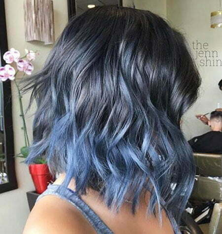 Hair Ombre Blue Bob