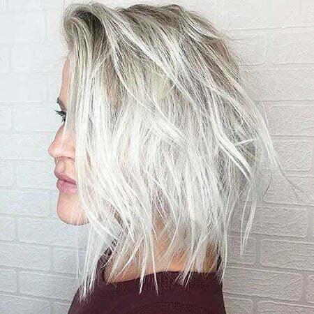 Choppy Blonde Lob Hair