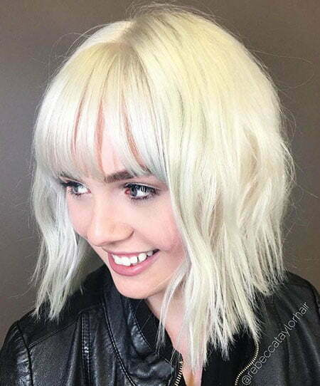 Choppy Bangs Blonde Platinum