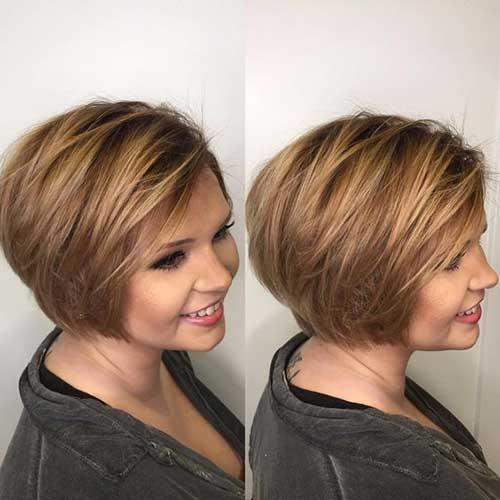 Layered Short Haircuts for Round Faces-6
