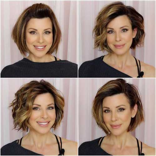 Layered Short Haircuts for Round Faces-9
