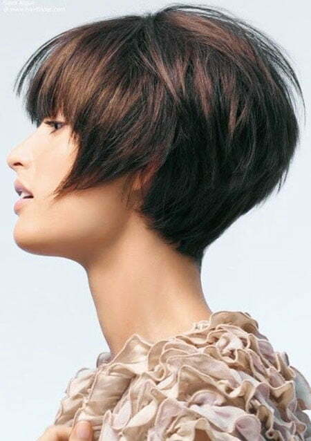 Layered Brunette Bob, Bob Layered Brunette Wavy