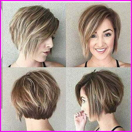 Short Haircut for Women with Round Faces, Layered Short Hair Bob