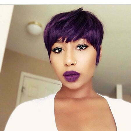 Purple Pixie Cut Black Girl