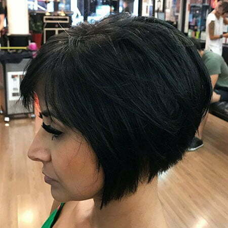 Brunette Layered Bob, Bob Inverted Black Brunette