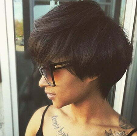 Layered Pixie Bob, Pixie Layered Brunette Relaxed