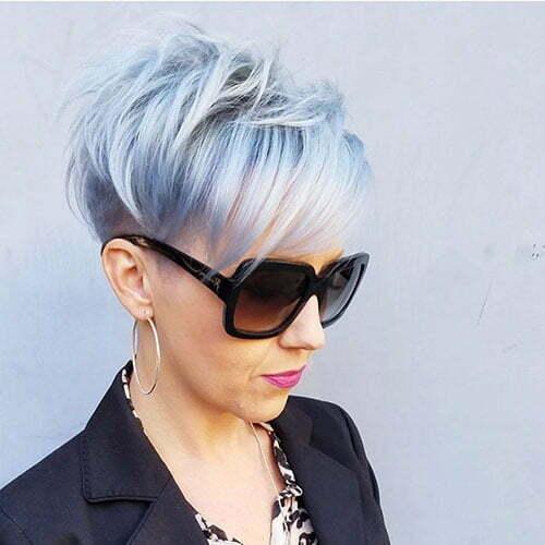Short Silver Blue Hair Color