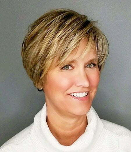 Feathered Layers, Pixie Bronde Over 50