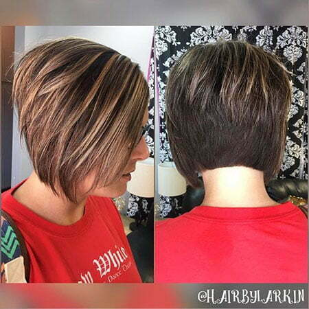 Short Angled Bob with Highlights, Layered Pixie Bob Layers