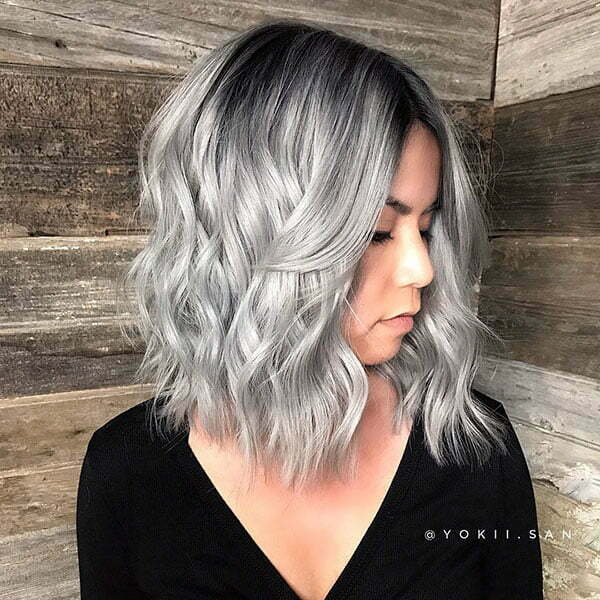 Short Wavy Silver Hair