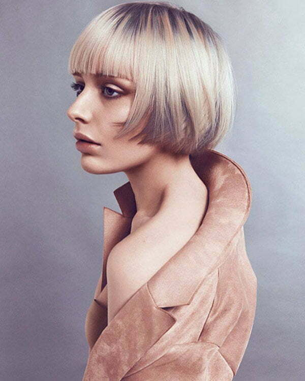 Straight Blonde Bob With Bangs