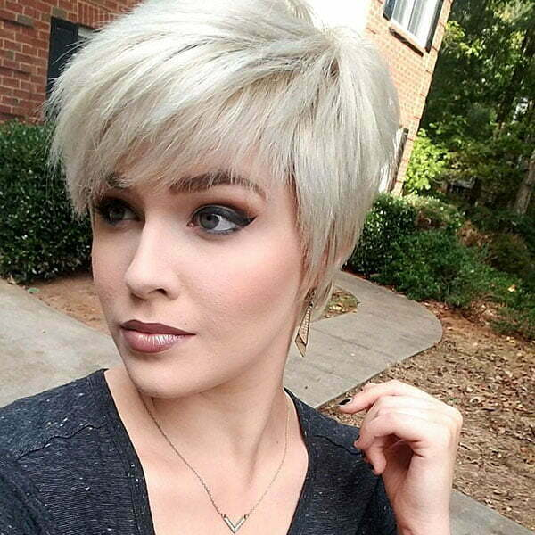 Blonde Pixie Cut With Bangs