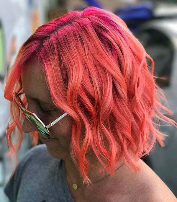 Short Wavy Pink Hair
