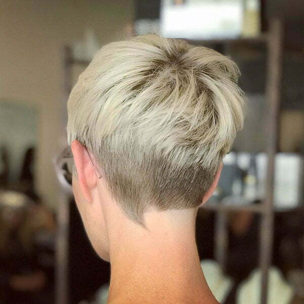 Platinum Blonde Layered Pixie Hair