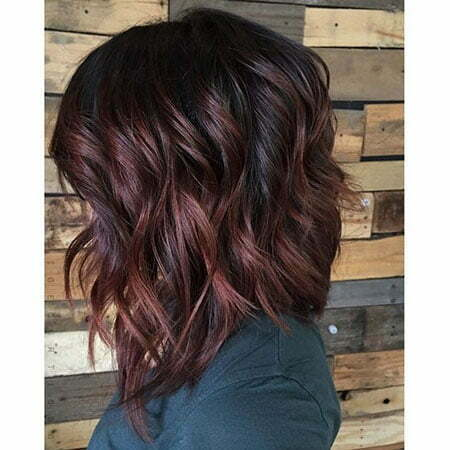 Choppy Burgundy Bob Hairstyle