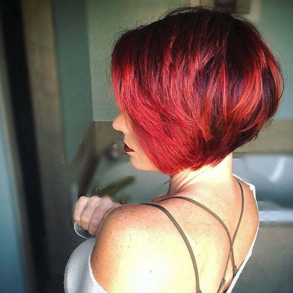 Red Bob Hair With Highlights