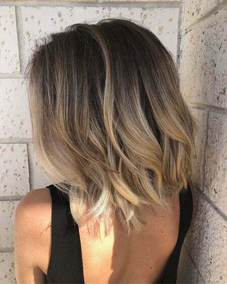 Short Brown Balayage Lob Hair