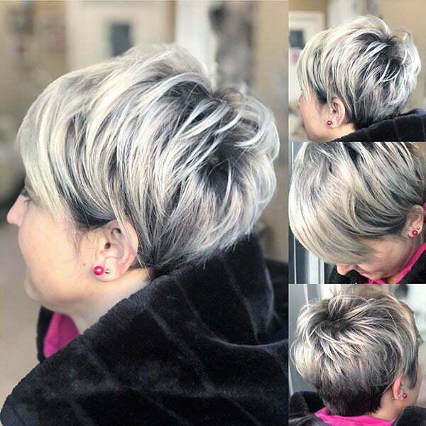 Silver Hair Pixie Cut