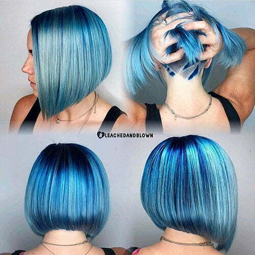 Short Hair With Blue Highlights