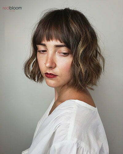 Short Lob Haircut With Bangs