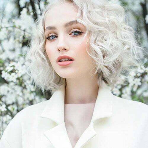 Short Curly White Hair