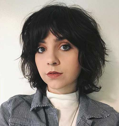 Edgy Layered Short Hair for Round Face