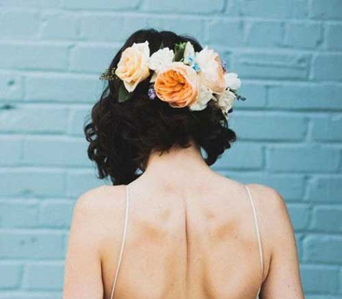 Wedding Flower Crown Hairstyles for Short Hair