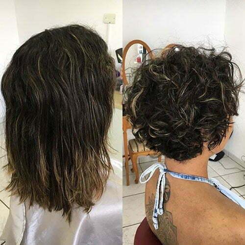 Kurze lockige Frisuren vor und nach dem -11