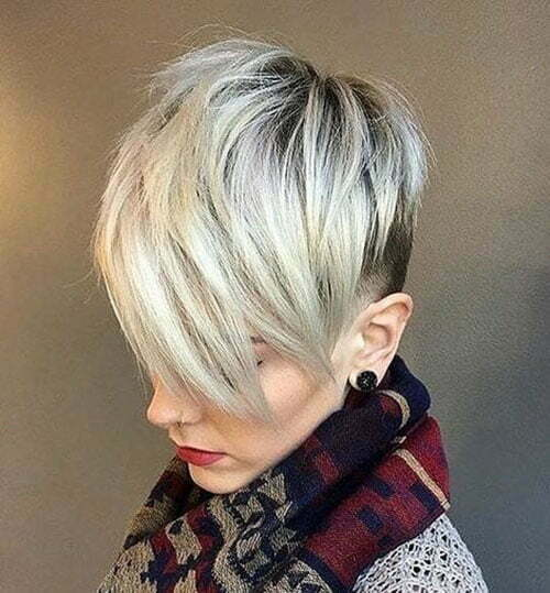 Kurze Pixie Straight Blonde Haircuts-22