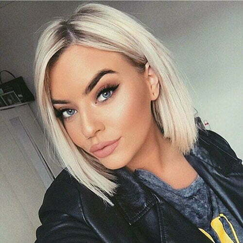 Short Straight Blonde Lob Haircuts-25