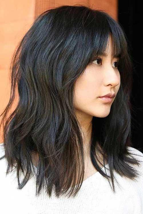 Medium Short Hairstyles With Bangs