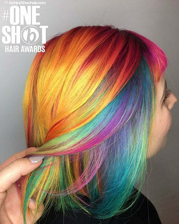 Short Rainbow Hair Color Pictures