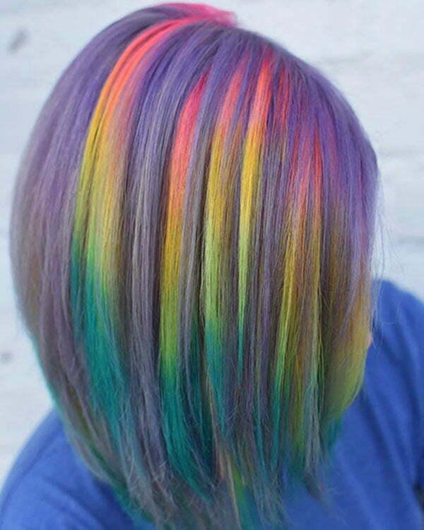 Rainbow Hair Color For Short Hair