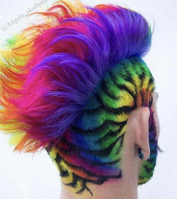 Short Rainbow Hair Color