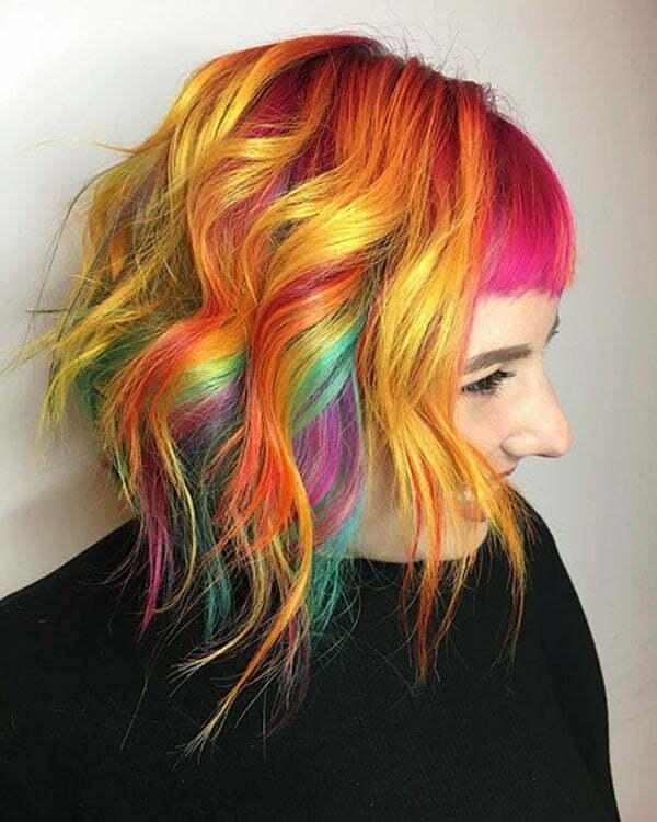 Short Rainbow Hair Ideas